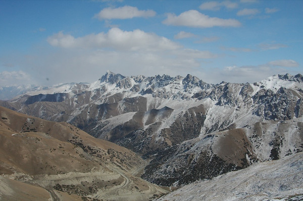 Fresh Snowfall on Mountains - Osh to Sary Tash, Kyrgyzstan