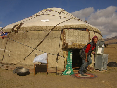 Going Out from Yurt - Song Kul Lake, Kyrgyzstan