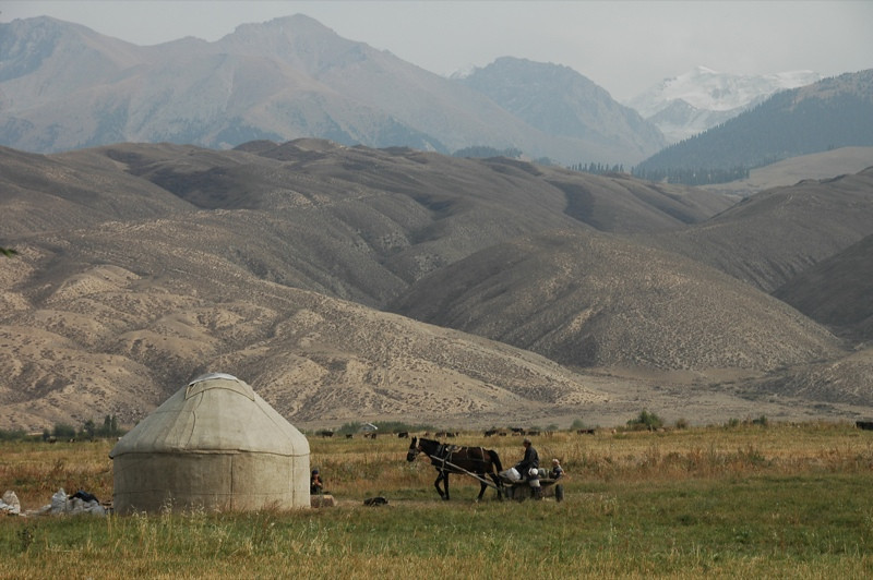 Kyrgyz Farmers and Yurt - Lake Issyk-Kul, Kyrgyzstan