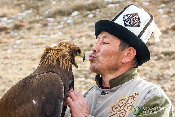 Kyrgyz Hunter and His Golden Eagle - Southern Shore Issyk-Kul, Kyrgyzstan