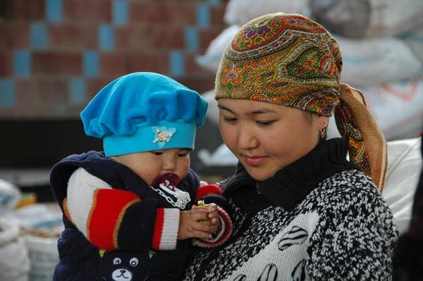 Kyrgyz Mother and Son at Osh Market, Kyrgyzstan