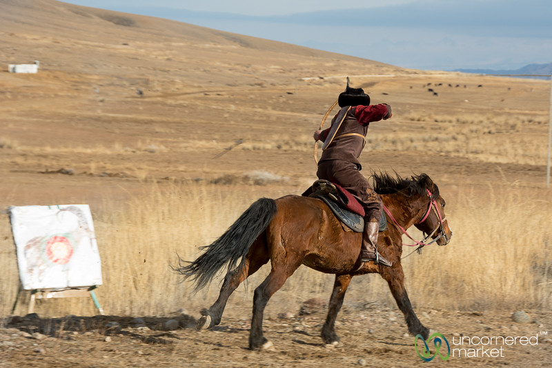 Archery on Horseback Demonstration - Sulbuurun Federation - Southern Shore, Kyrgyzstan