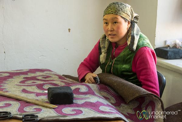 Making a Shyrdak at Golden Thimble - Bakonbaevo, Southern Shore, Kyrgyzstan
