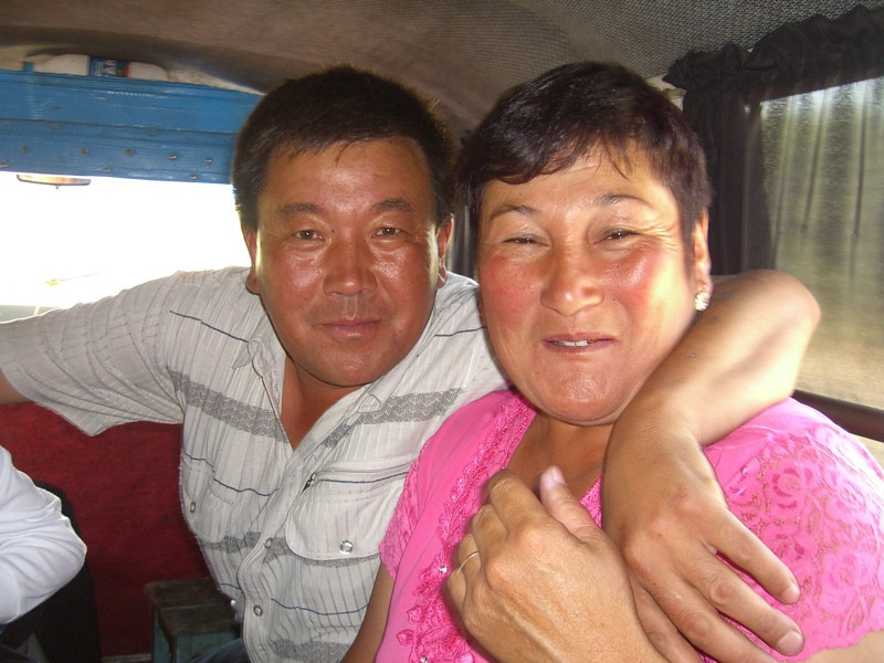 Kyrgyz Couple on Bus - Karakol to Bakonbaeva, Kyrgyzstan