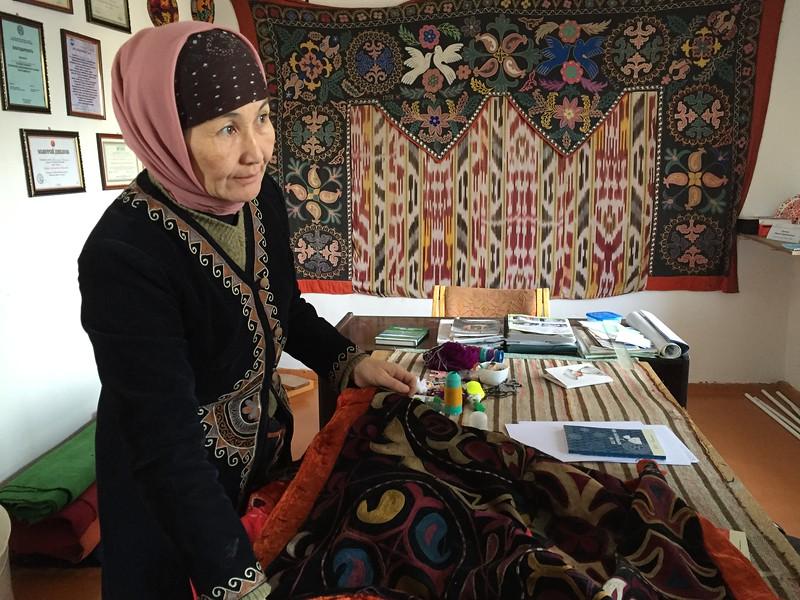 Learning about Tush-kiz and Shyrdaks at Golden Thimble - Bakonbaevo, Kyrgyzstan