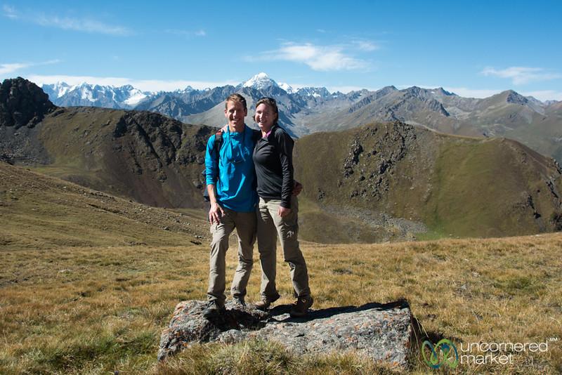 Dan and Audrey at Terim Tor Bulak Pass - Jyrgalan Trek, Kyrgyzstan