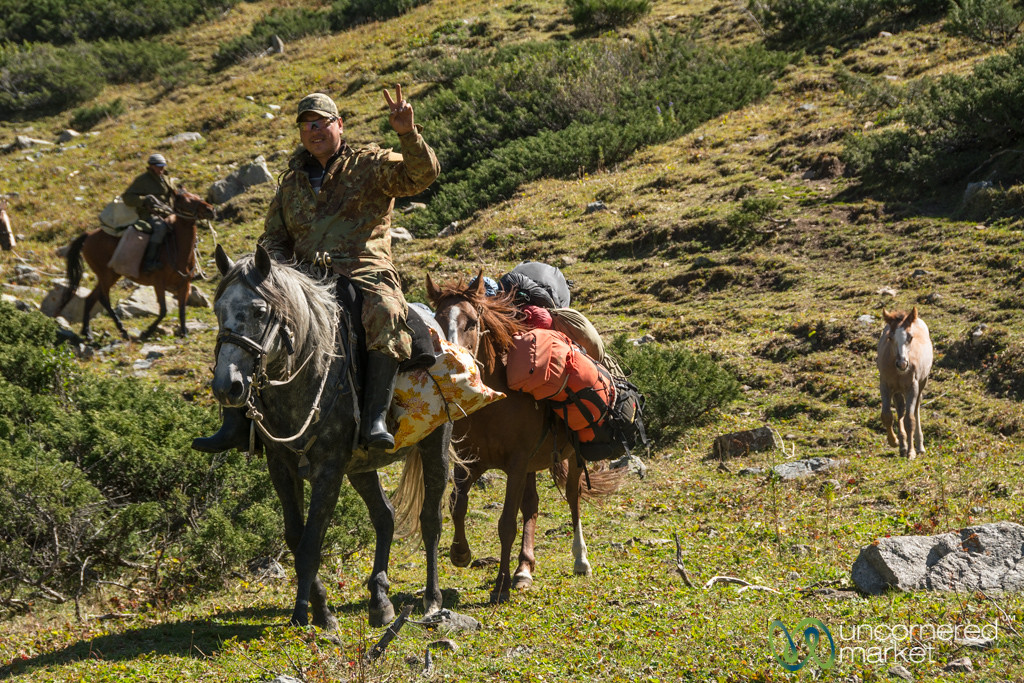 Horsemen with All our Stuff - Jyrgalan Trek, Kyrgyzstan