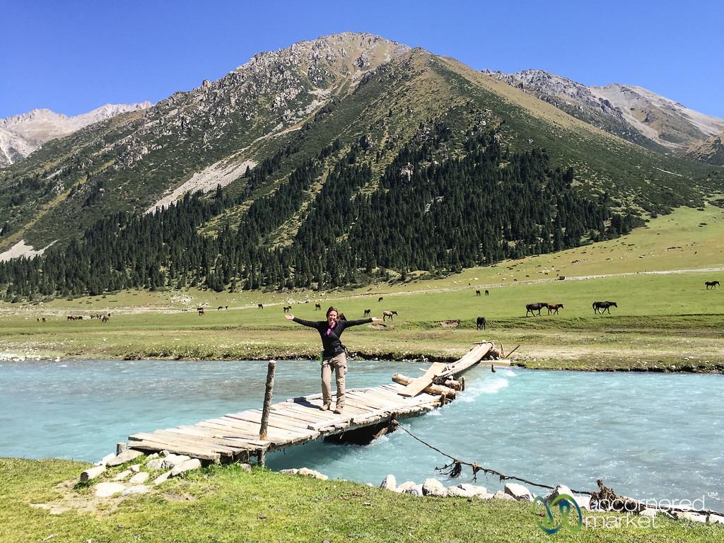 Audrey Crosses the Jyrgalan River - Kyrgyzstan