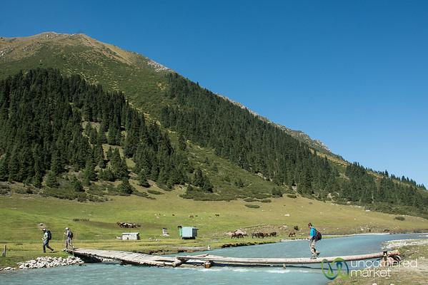 Dan Crosses the Jyrgalan River, Kyrgyzstan