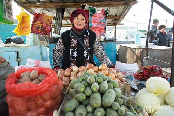 Friendly Kyrgyz Vegetable Vendor at Big Bazaar - Karakol, Kyrgyzstan