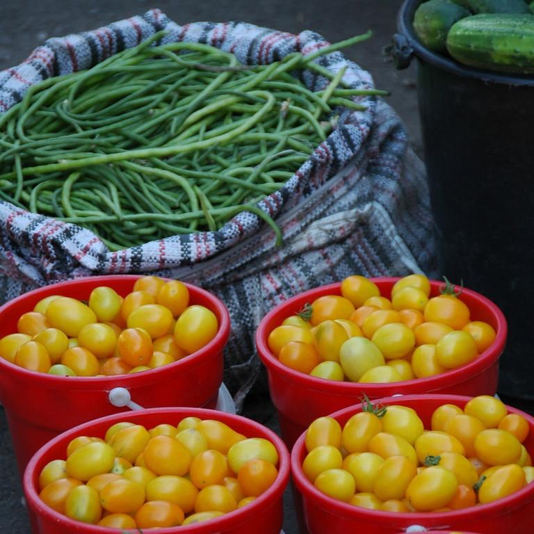Osh Bazaar: Yellow Tomatoes, Green Beans - Bishkek, Kyrgyzstan