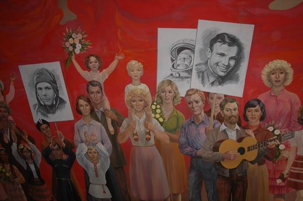 Soviet Mural at State History Museum - Bishkek, Kyrgyzstan