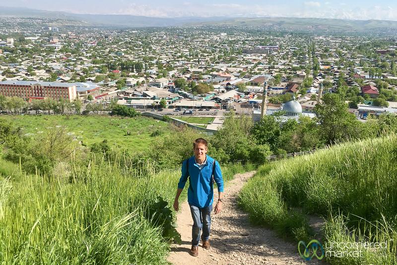 Dan climbs up Suleimann-Too Mountain in Osh, Kyrgyzstan