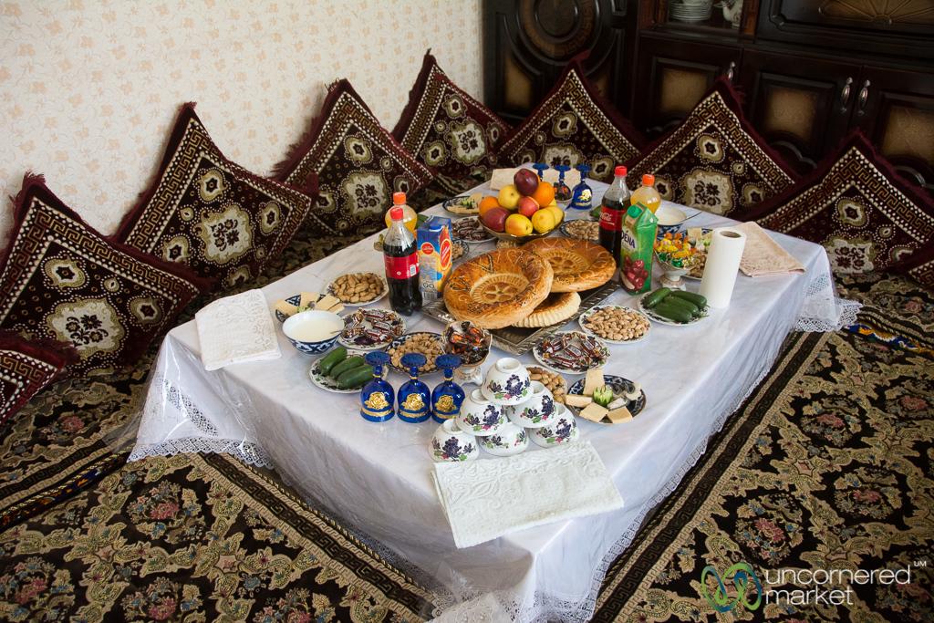 Traditional Table Setting in Uzgen, Kyrgyzstan