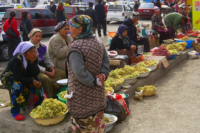 Selling Grapes at Osh Market, Kyrgyzstan