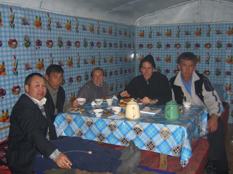 Road Stop, Eating Mutton - Bishkek to Osh, Kyrgyzstan