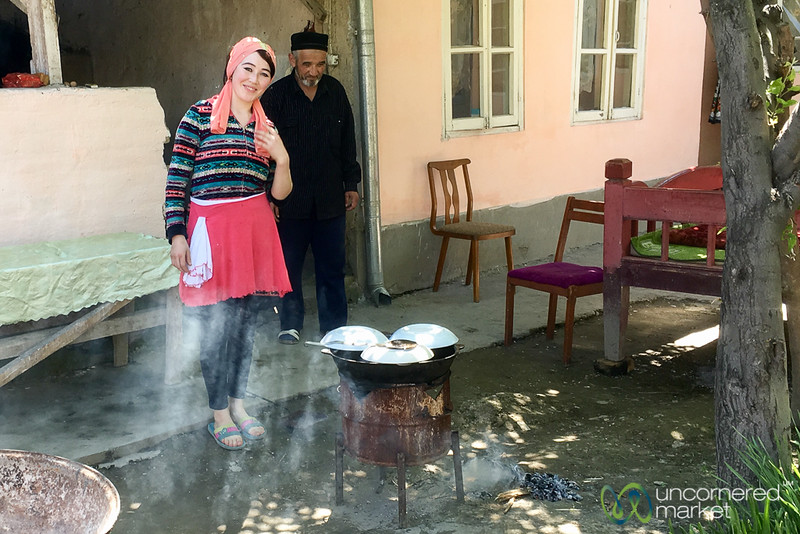 Cooking Plov in Family Courtyard - Uzgen, Kyrgyzstan