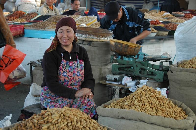Smiling Vendor at Osh Market, Kyrgyzstan
