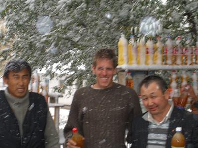 Men in Snow Storm - Bishkek to Osh, Kyrgyzstan