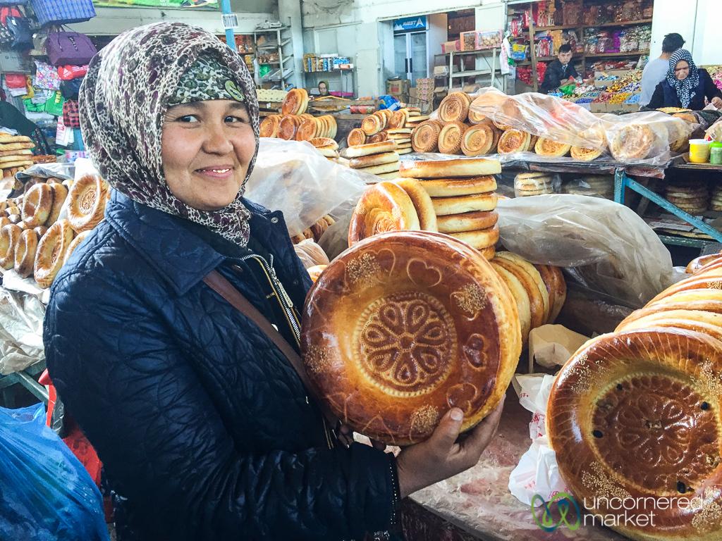 Liposhka (Round Bread) at the Uzgen Bazaar - Uzgen, Kyrgyzstan