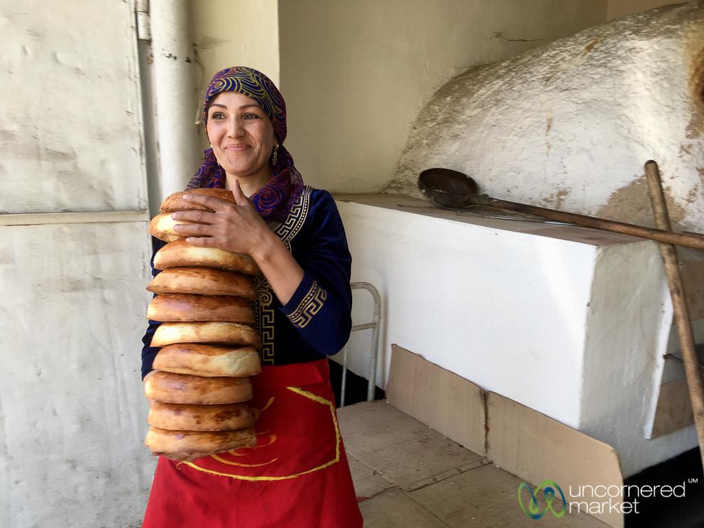 Fresh Liposhka (bread) from the Oven - Osh, Kyrgyzstan