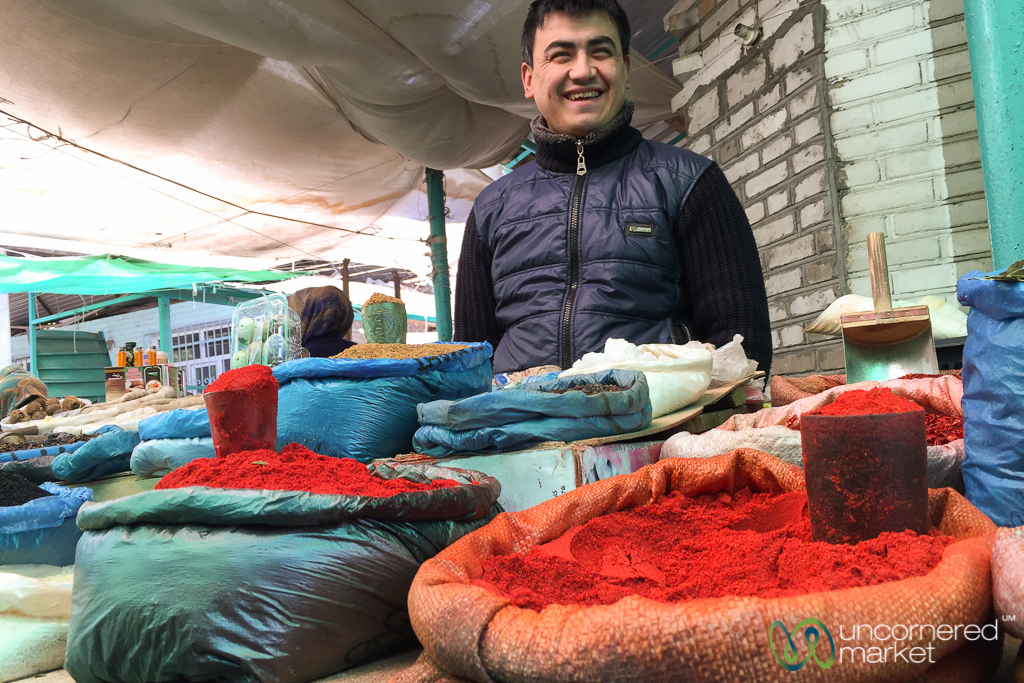 Spice Vendor and Smiles at Osh Bazaar - Kyrgyzstan