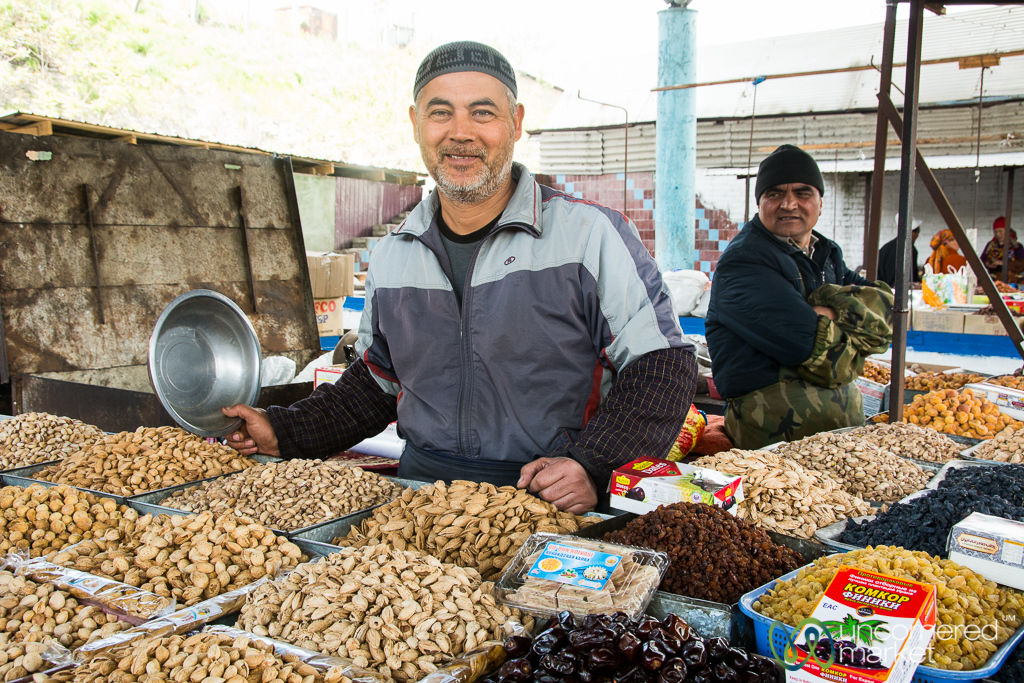 Friendly Nuts Vendor at Osh Bazaar, Kyrgyzstan