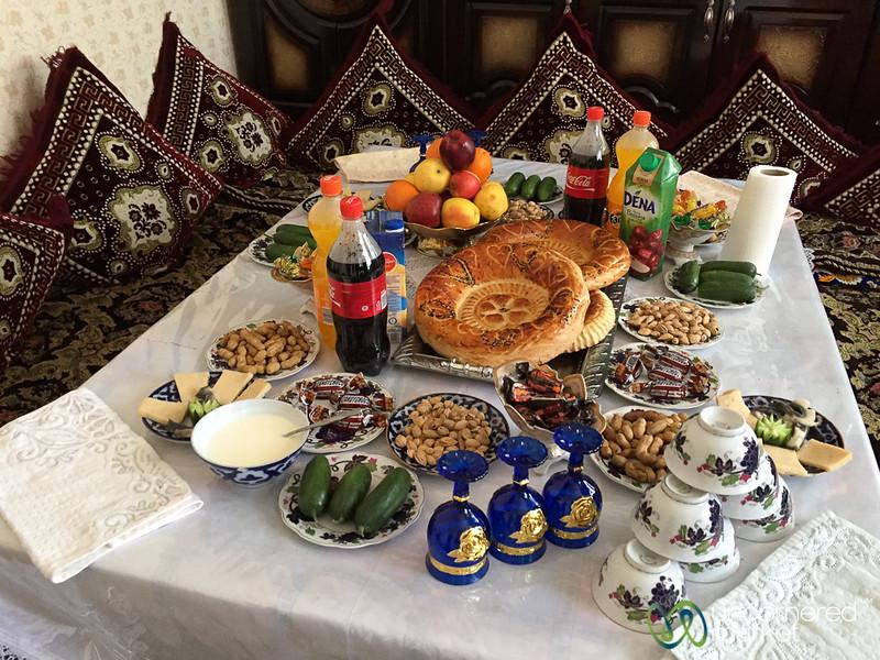 Meal Spread in Uzgen, Kyrgyzstan