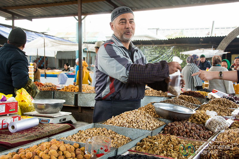 Nuts and Dried Fruits Vendor at Osh Bazaar - Kyrgyzstan