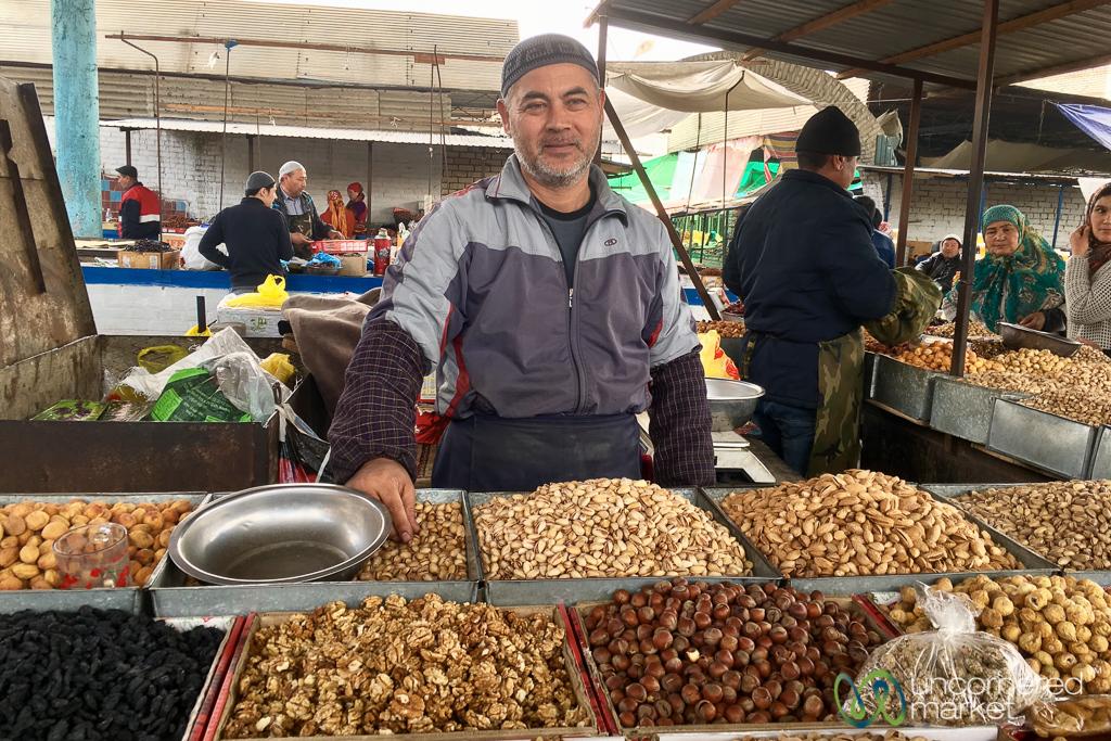 Osh Bazaar, Vendor of Nuts and Fruit - Kyrgyzstan