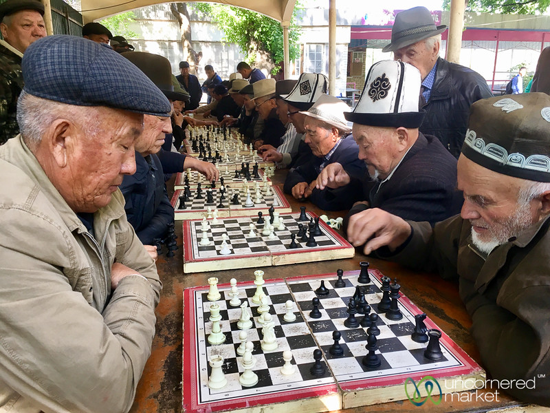 Serious Chess Matches at the Park - Osh, Kyrgyzstan