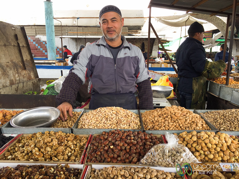 Osh Bazaar - Nuts and Fruits Galore - Osh, Kyrgyzstan