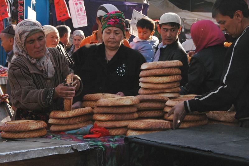 Bread Vendors at Osh Market, Kyrgyzstan
