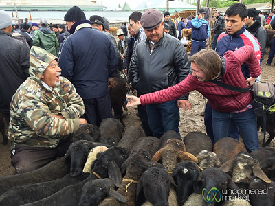 Osh Animal Market, Fun with Vendors - Osh, Kyrgyzstan