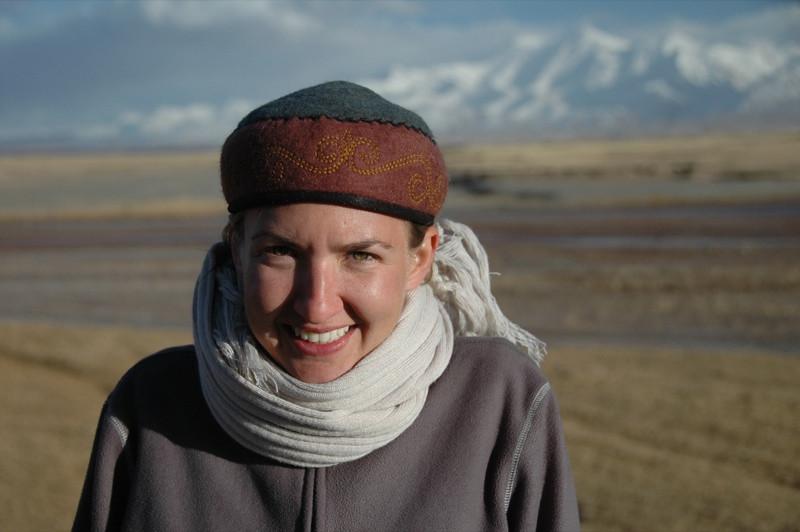 Audrey Staying Warm - Sary Tash, Kyrgyzstan