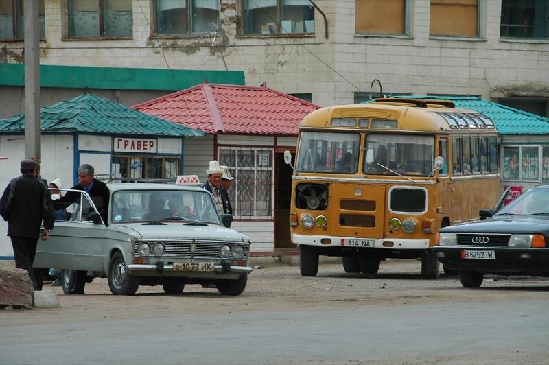 Buses, Ladas, Transportation - Kochkor, Kyrgyzstan