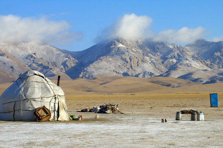 First Snow on Yurt and Mountains - Song Kul Lake, Kyrgyzstan