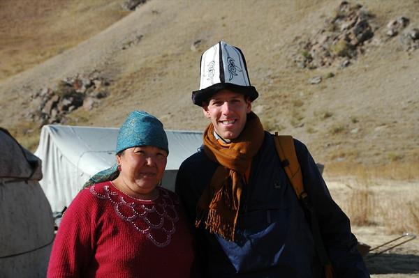 Dan in a Kalpak (Kyrgyz Hat) - Kochkor, Kyrgyzstan