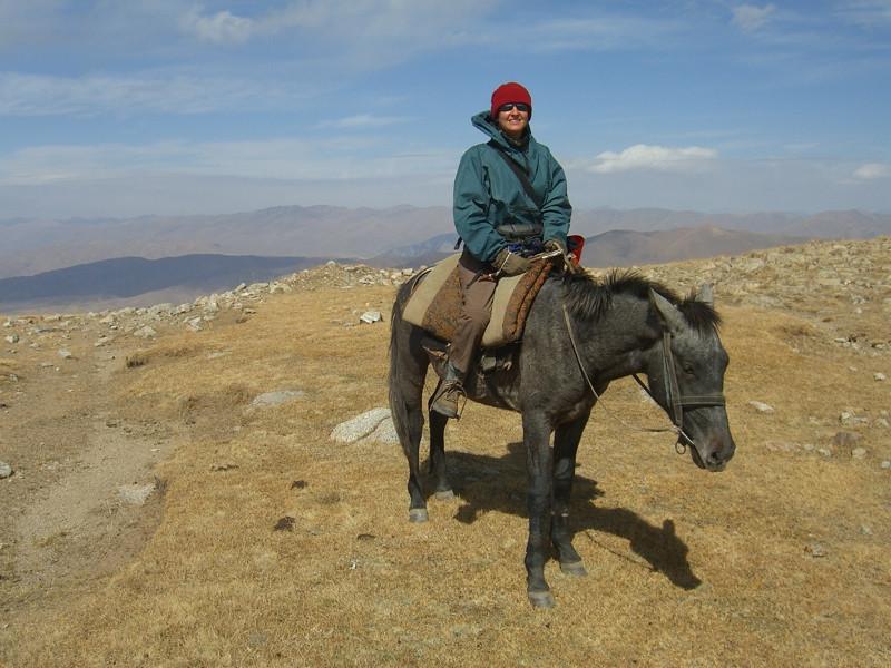 Audrey on Horse Trek to Song Kul Lake,Kyrgyzstan
