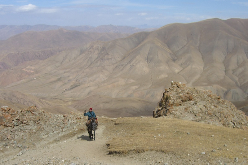 Crossing Mountain Pass on Horse - Song Kul Lake, Kyrgyzstan