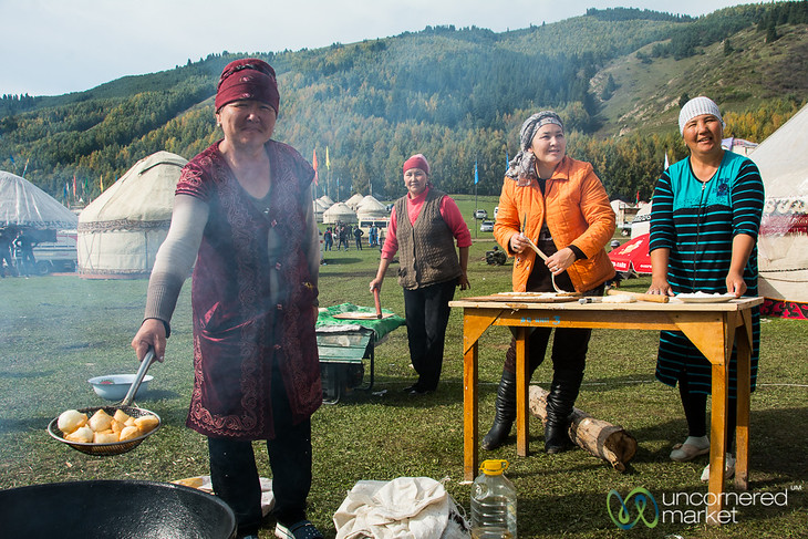 Time to Make the Boorsok (Kyrgyz Fried Dough) - Kyrchyn Cultural Festival, Kyrgyzstan