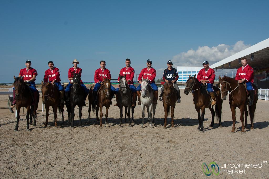 American Kok-Boru Team Gets Ready to Play -  World Nomad Games, Kyrgyzstan