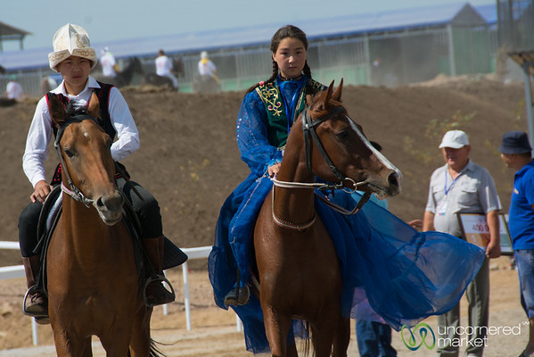 Practicing for Bride Chasing Horse Game - World Nomad Games, Kyrgyzstan