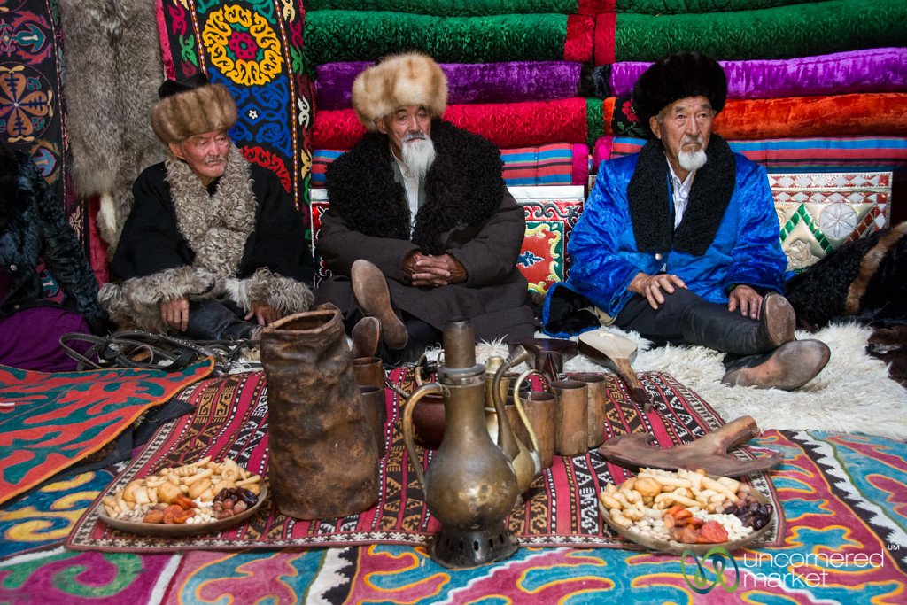 Kyrgyz Elders in a Yurt - World Nomad Games, Kyrgyzstan