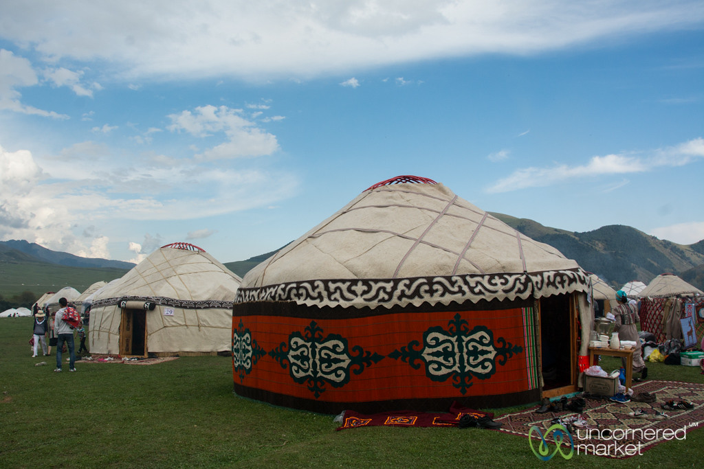 Yurts in a Row at Kyrchyn Jailoo - World Nomad Games, Kyrgyzstan