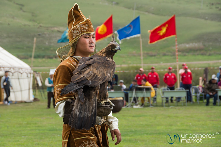Golden Eagle Waits on the Arm of his Master - World Nomad Games, Kyrgyzstan
