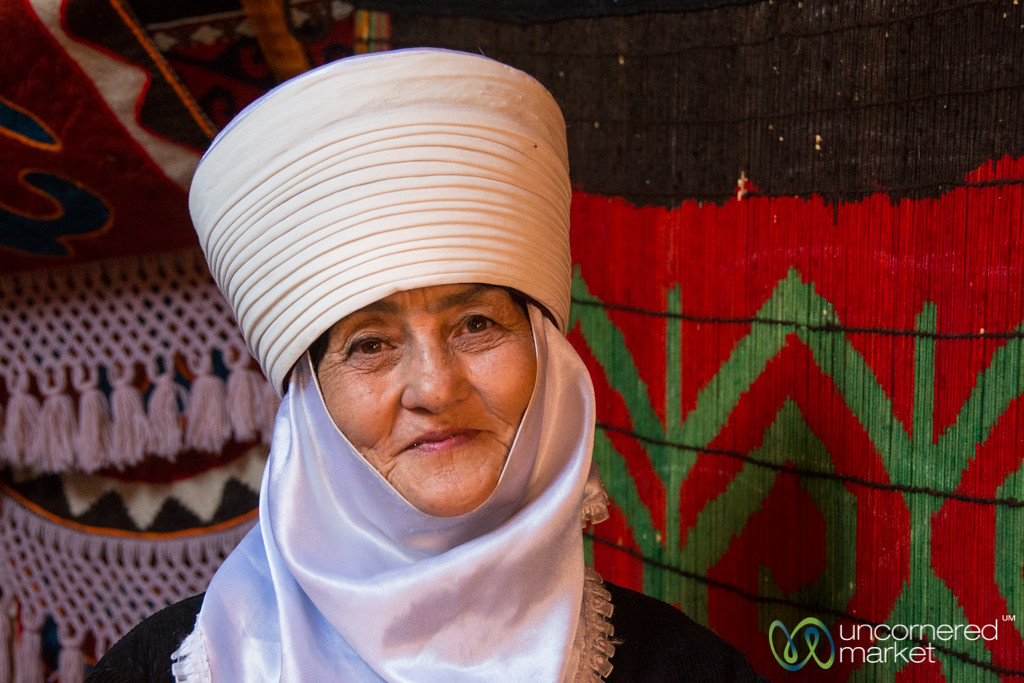 Kyrgyz Woman in Yurt - World Nomad Games, Kyrgyzstan