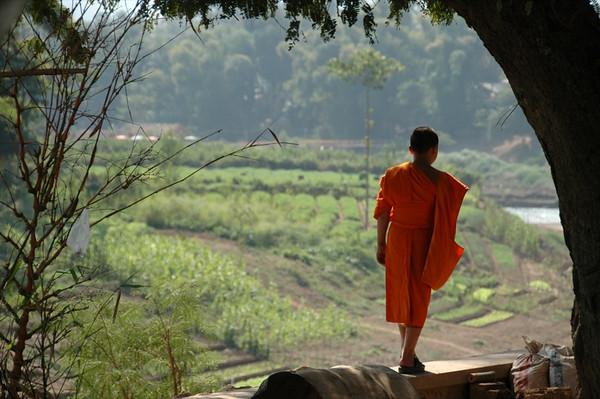Monk at the Nam Khan River - Luang Prabang, Laos