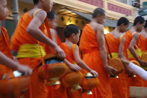 Monks in Morning Alms - Luang Prabang, Laos