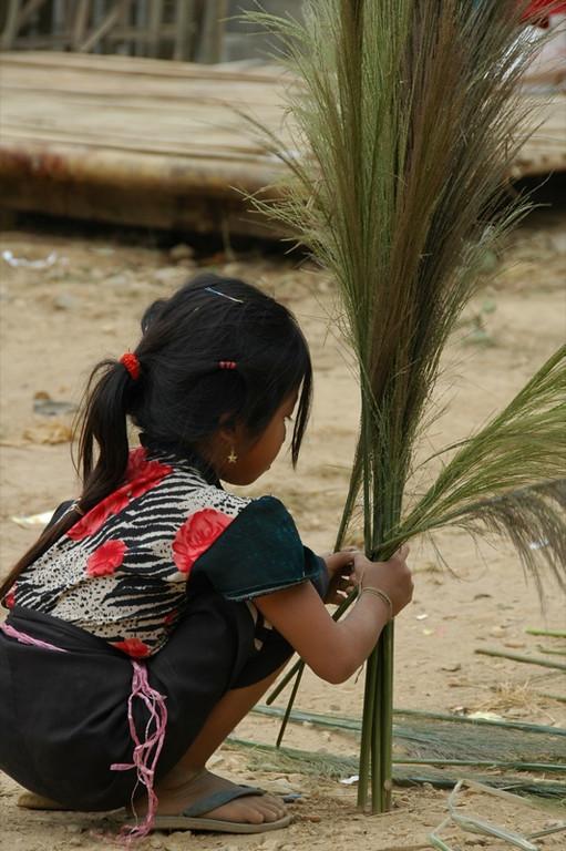 Girl Drying Bamboo Flower Reeds - Nong Khiaw, Laos